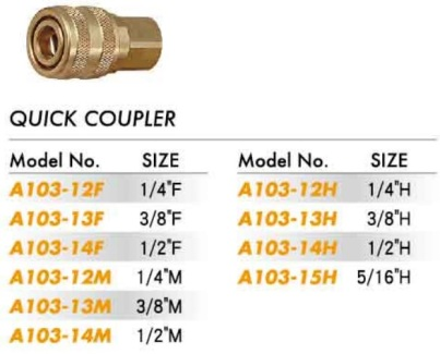 Quick Coupler - Aro Type Brass (A103-12 to A103-15)