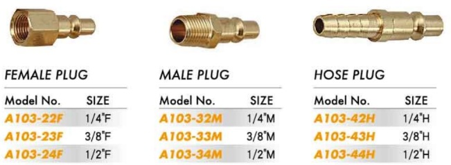 Quick Coupler - Male & Female & Hose Plug (A103-22 23 24 32 33 34 42 43 44)