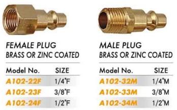 Quick Coupler - Male & Female Plug - Brass or Zinc Coated (A102-22 23 24 32 33 34)